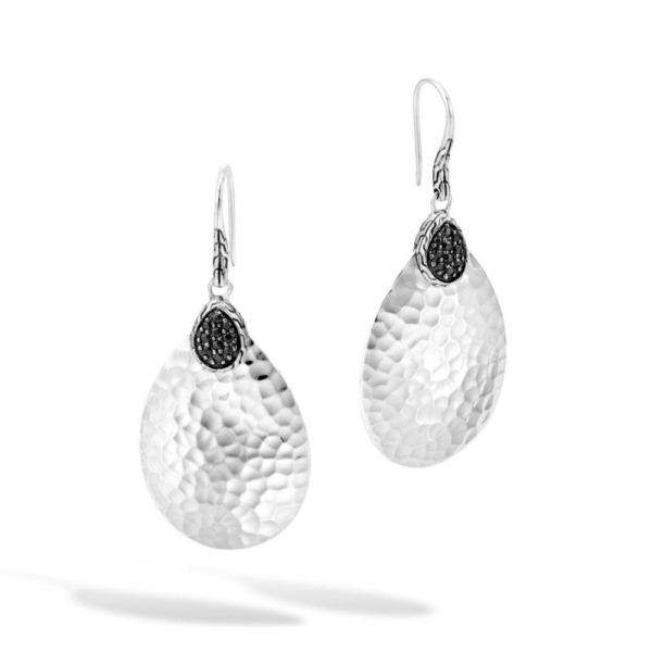 Earrings - Sterling Silver Hammered Classic Chain Drop Earrings With Round Black Sapphires