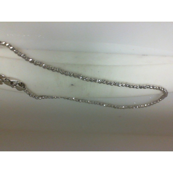 Bracelet - Sterling Silver And Plat Diamond Cut Faceted Bead Ankle Bracelet Length 10