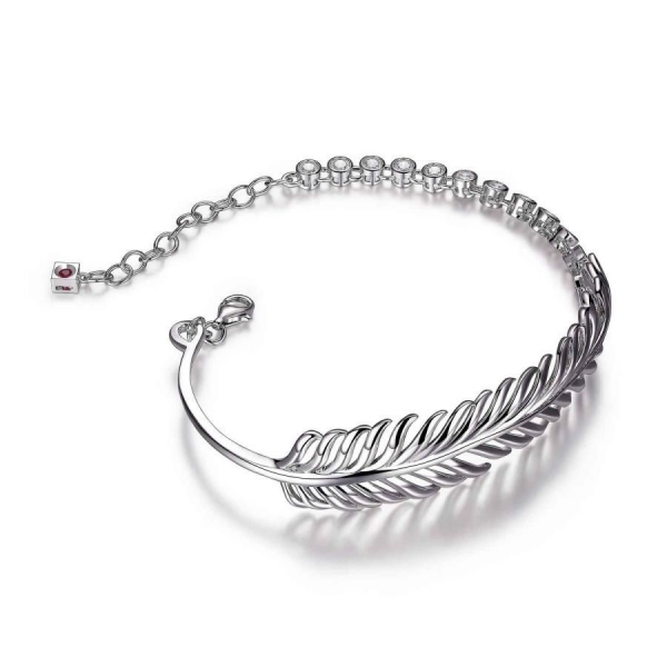 Bracelet - Sterling Silver Rhodium Finished Feather Bracelet