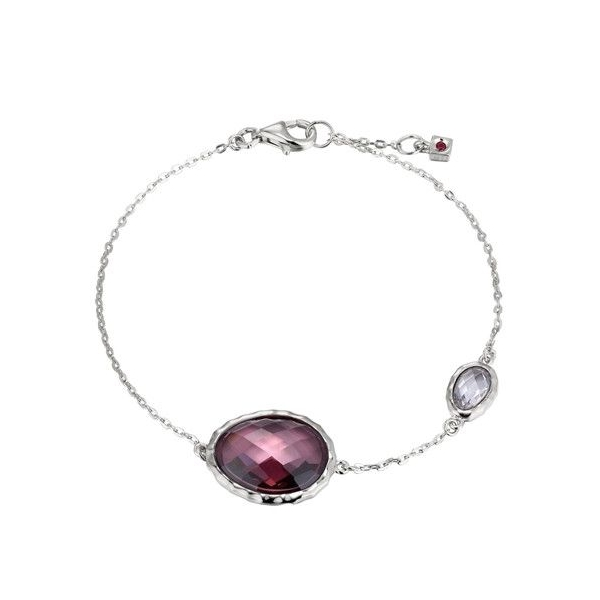 Bracelet - Rhodium Finished Sterling Silver Contemporary Bracelet With One Oval Smoky Cz