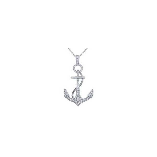 Pendant - Sterling Silver Platinum Bonded Anchor Pendant With 0.50Tw Rnd Lassaire Simulated Dias