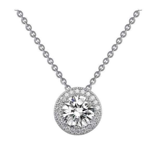 Pendant - Sterling Silver Platinum Bonded Halo Pendant With 1.25Tw Rnd Lassaire Simulated Dias