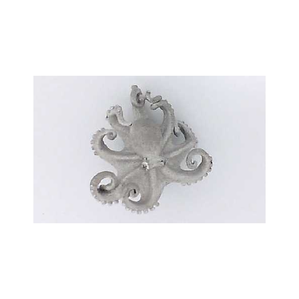 Pendant - Precious Silver And 18K Satin And Polished Octopus Pendant With 0.01Tw Round Diamonds And 0.01Tw Round Diamonds