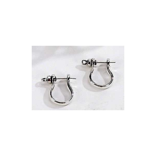 Silver Jewelry - Stainless Steel Shackle Earrings .
