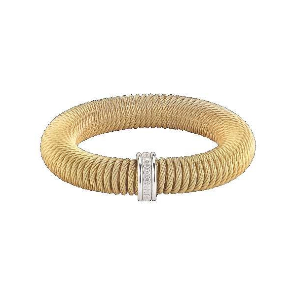 Silver Jewelry - Yellow Stainless And 18K Kai Bangle Bracelet . With 0.12Tw Round Diamonds