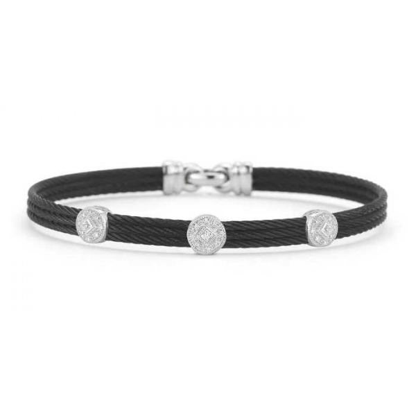 Silver Jewelry - Black Stainless And 18K Noir Bangle Bracelet . Size 7 With 0.14Tw Round Diamonds