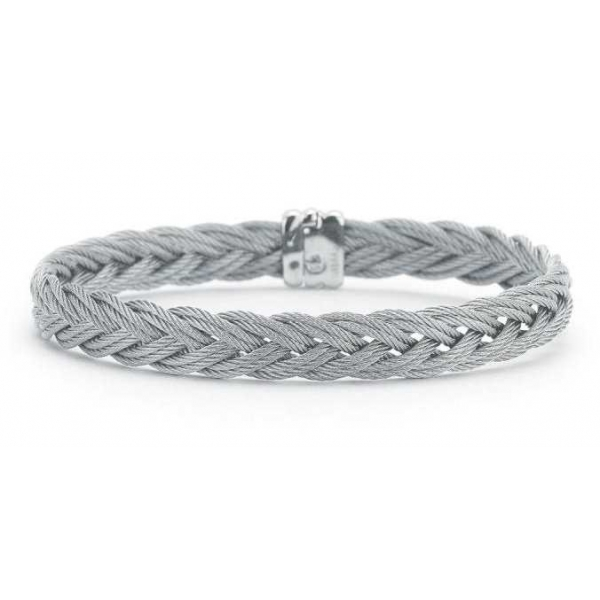 Silver Jewelry - Gray Stainless And 18K Gentlemen's Braided Bangle Bracelet . Size 7.5
