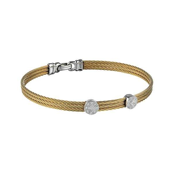 Silver Jewelry - Two-Tone Stainless And 18K Classique Bangle . With 0.09Tw Round Diamonds