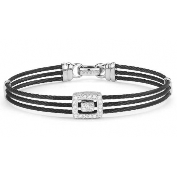 Silver Jewelry - Black And White Stainless And 18K Noir Bangle . Size 7 With 0.21Tw Rnd Dias