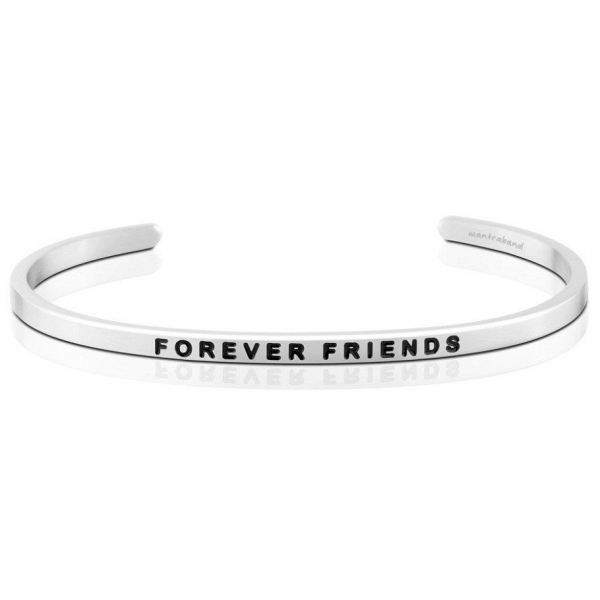 Silver Jewelry - Stainless Steel Silver Finished Forever Friends Mantraband .