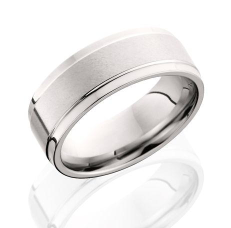 Wedding Band - Cobalt Satin And Polished Comfort Fit Raised Center Ring Size 10 MM Width: 8
