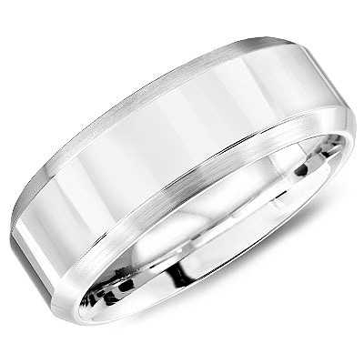Wedding Band - Cobalt Satin Contemporary Wedding Band Size 10 MM Width: 7