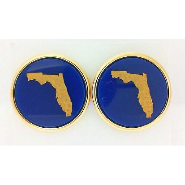 . - Gold Finished State Round Cuff Links . Notes: Florida
