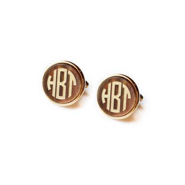 . - Tiger's Eye Gold Finished Vineyard Round Cuff Links .