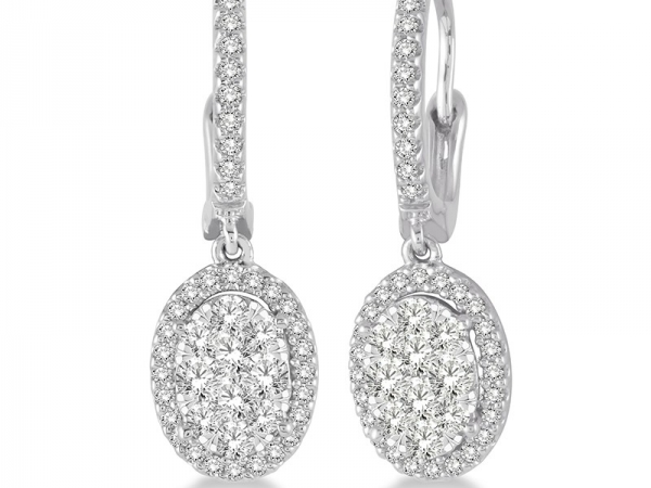 Earrings - Lady's White 14 Karat Drop With Cluster Lovebright Earrings With 1.00Tw Round G Si1 Diamonds