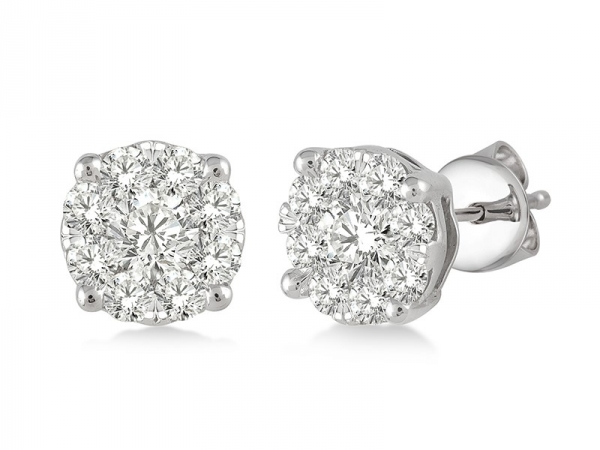Earrings - Lady's White 14 Karat Halo Studs Lovebright Earrings With 0.75Tw Round G Si1 Diamonds
