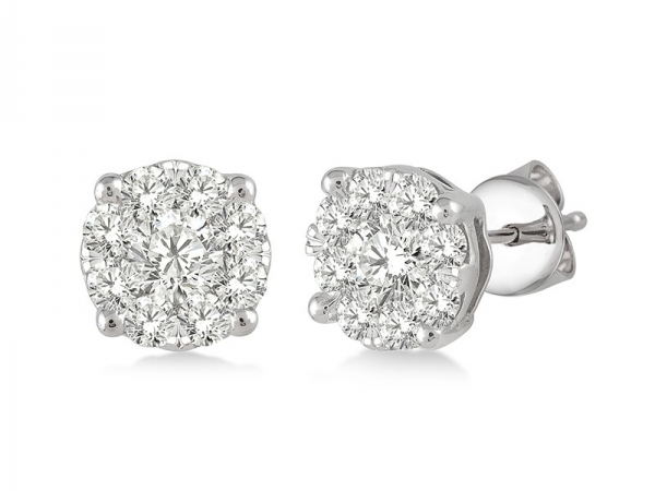 Earrings - Lady's White 14 Karat Lovebright Earrings With 0.50Tw Round G Si1 Diamonds
