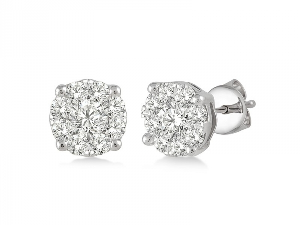 Earrings - Lady's White 14 Karat Halo Lovebright Earrings With 0.35Tw Round G Si1 Diamonds