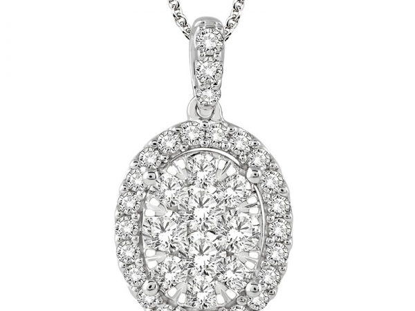 Pendant - Lady's White 14 Karat Oval Drop With Diamnd Cluster Pendant With 1.50Tw Round G Si1 Diamonds