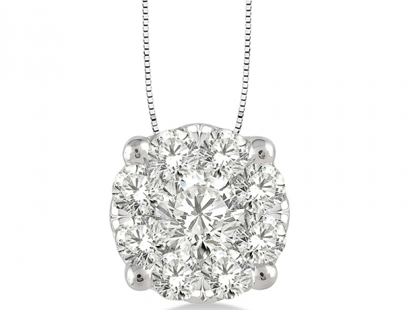 Pendant - Lady's White 14 Karat Lovebright Cluster Pendant With 9=0.50Tw Round G Si1 Diamonds