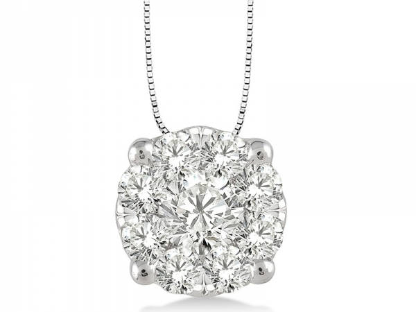 Pendant - Lady's White 14 Karat Lovebright Cluster Pendant With 0.35Tw Round G Si1 Diamonds