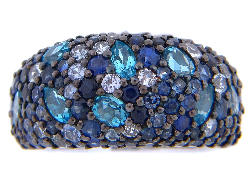 Fashion Ring - Lady's Fashion Ring With 6.52Tw Round Sapphires