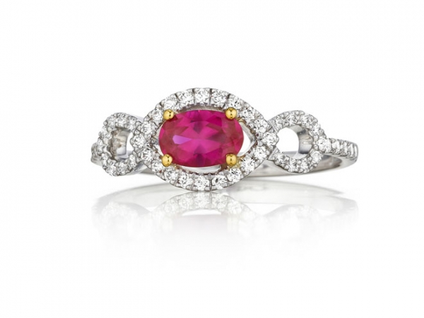 Fashion Ring - Lady's White 14 Karat Fana Fashion Ring With One 0.66Ct Oval Ruby And 0.30Tw Round Diamonds