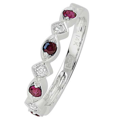 Fashion Ring - Lady's White 14 Karat Ruby And Diamond Mixable Fashion Ring With 3=0.05Tw Various Shapes Diamonds And 4=0.22Tw Various Shapes Rubys