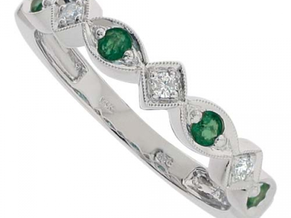 Fashion Ring - Lady's White 14 Karat Emerald And Sapphire Mixable Fashion Ring With 3=0.06Tw Various Shapes Diamonds And 4=0.26Tw Various Shapes Emeralds