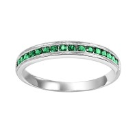 Fashion Ring - Lady's White 14 Karat Emerald And Diamond Mixable Fashion Ring With 17=0.27Tw Various Shapes Emeralds