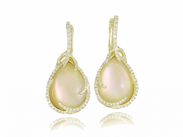 earring - Yellow 14 Karat Frederic Sage Pear Shape Luna Fire Earring With 144=0.65Tw Round G Vs2 Diamonds and2= 10.30ct TW citrine and Yellow MOP
