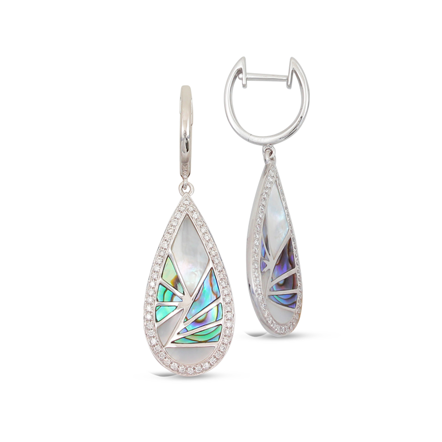 earring - White 14 Karat Frederic Sage Venus Drop With White Mop Abalone And Diamond Earring With 96=0.27Tw Round G Vs2 Diamonds