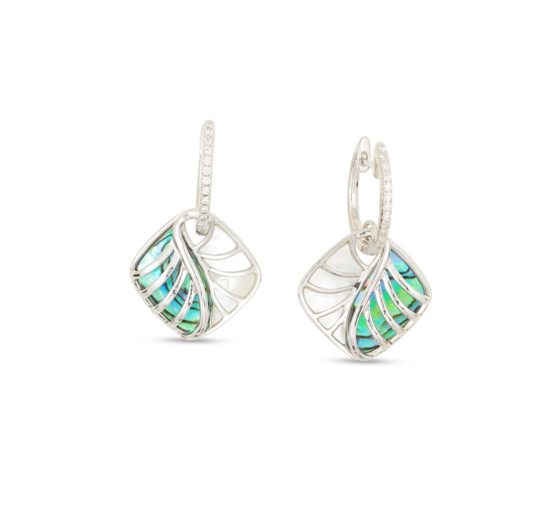 earring - Rosé 14 Karat Frederic Sage Mini Abalone And White Mop Polished Venus Cushion Diamond Bale Earring With 26=0.13Tw Round G Vs2 Diamonds