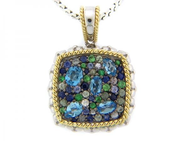 Pendants - White Ss/18Kt Dilamani Sp14380tb-900A Pendants With 3.24Tw Round Sapphires