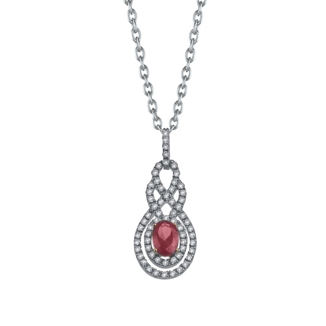 Pendants - White 14 Karat Fashion Pendants With 66=0.40Tw Round Diamonds And One 0.66Ct Oval Ruby