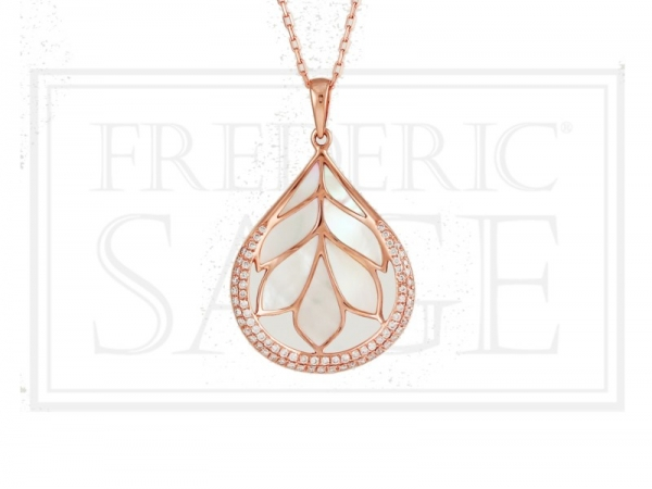Pendant - Rosé 14 Karat White Mother Of Pearl And Diamond Large Folia Pendant And Chain Pendant With 75=0.37Tw Round Diamonds