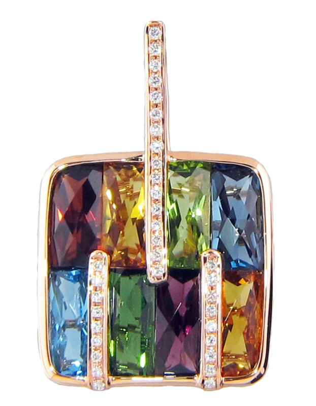 Pendant - Rosé 14 Karat Bellarri Boulevard Collection Enhancer With 0.15Tw Round Chocolate Diamonds and 12.65ct Multi color semi precious stones