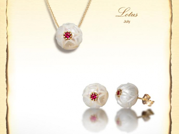 Earrings - Lady's Yellow 14 Karat July Ruby Lotus Earrings With 2= Fresh Water White Carved Pearls
