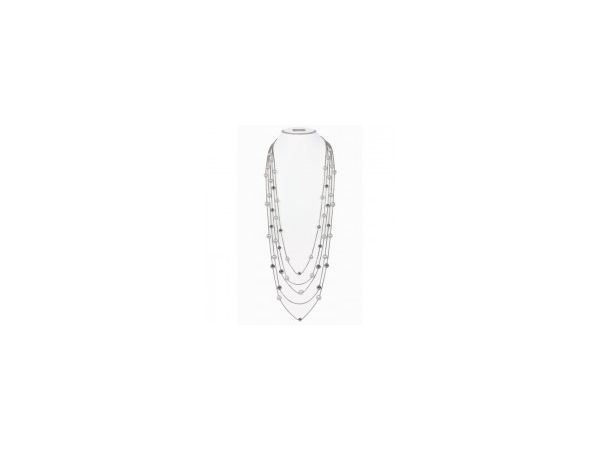 Strand - Lady's White Sterling Silver Honora 5 Strand 7-10 Mm Rd Rgd Wh Fw Pearl / Time Square Toggle Fashion Necklace