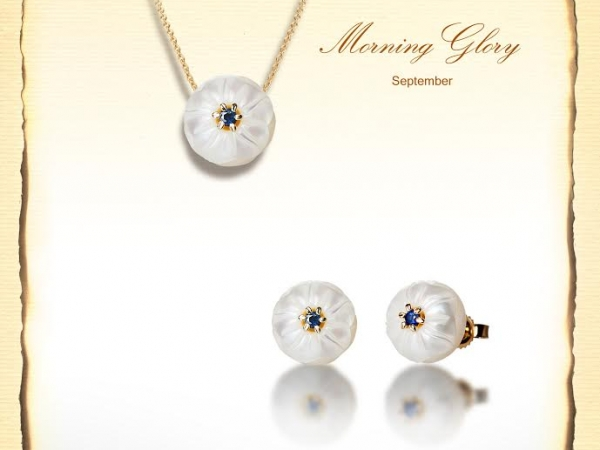 Pendant - Lady's Yellow 14 Karat September Sapphire Morning Glory Pendant With One Fresh Water White Carved Pearl