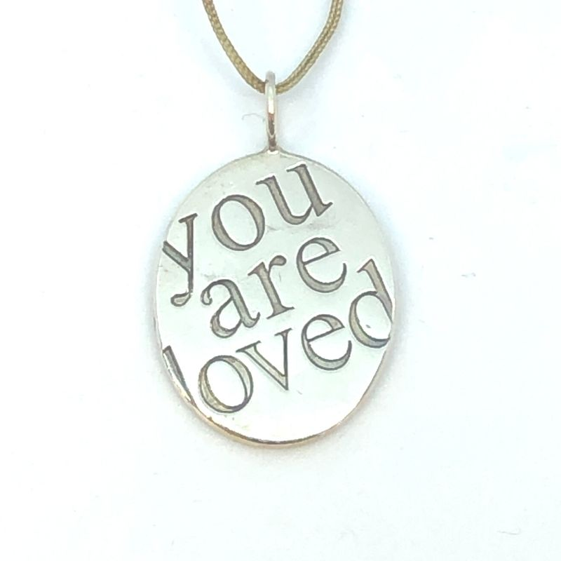 001-402-00032 - Lady's White Sterling Silver You Are Loved Charm size 7 oval multi line quote