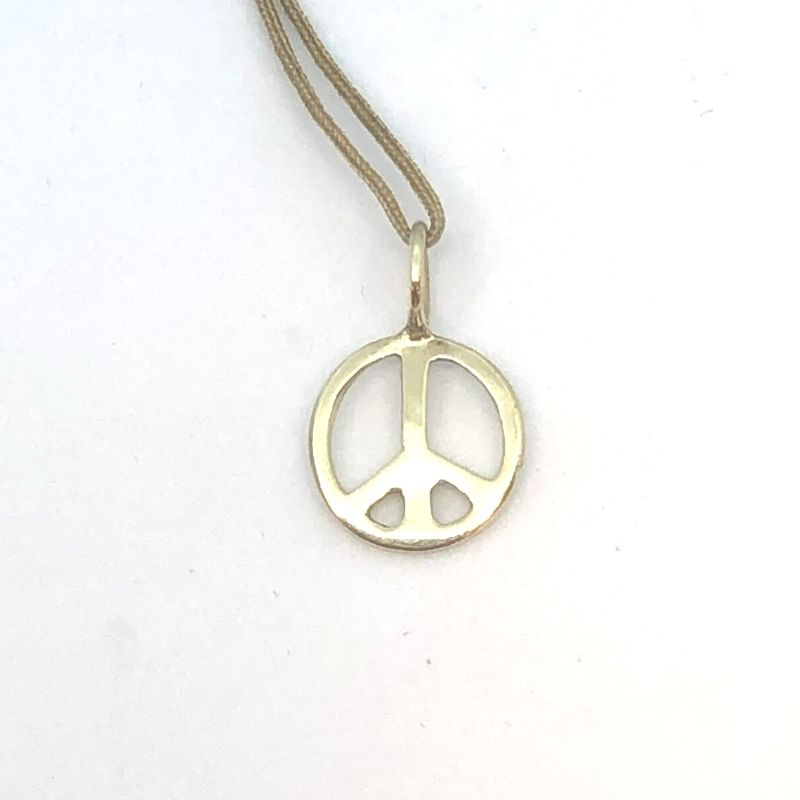 001-402-00047 - Lady's Yellow 14 Karat Peace Sign Charm