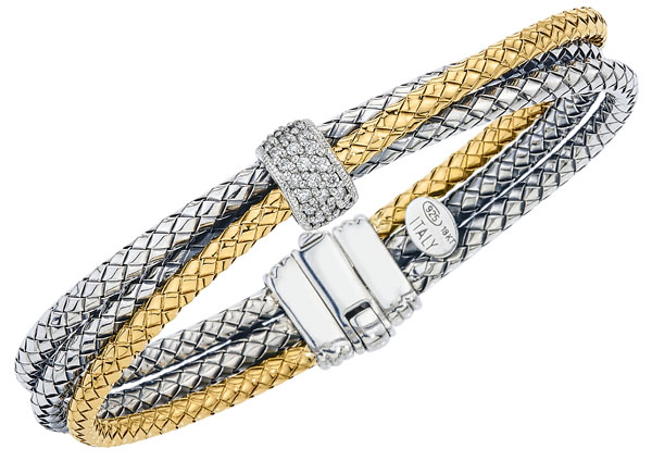 Bracelet - Three row twisted basket weave bracelet - 1 18k gold, 2 sterling silver w/ .25ctw round diamonds