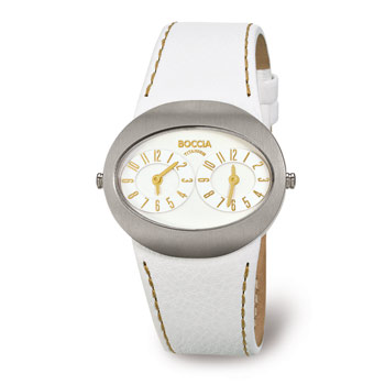 Watch - Lady's Boccia Oval Shape Whitedial, 2 Time Zones W/Gold Arabic Numerals Watch Strap/Brac.: White leather