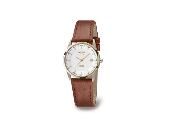 Watch - Lady's Boccia Titan, 2Tone, Round Cream Dial, Gold Markers, Date Watch Strap/Brac.: Brown Leather