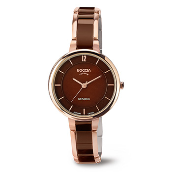 Watch - Lady's Boccia Titan, Round Brown Dial,Rose Gold Plating And Brown Ceramic Watch