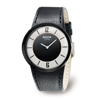 Watch - Lady's Boccia Large Round Silver And Black Dial, Watch Strap/Brac.: Black Leather