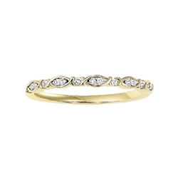 Women's  Wedding Bands - 14k Yellow Gold Diamond Stackable Ring 1/10ctw