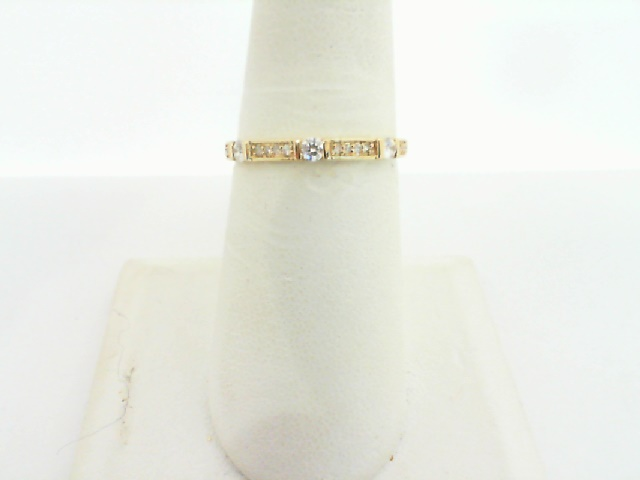Women's  Wedding Bands - 14k Yellow Gold Diamond Stackable Ring 1/6ctw