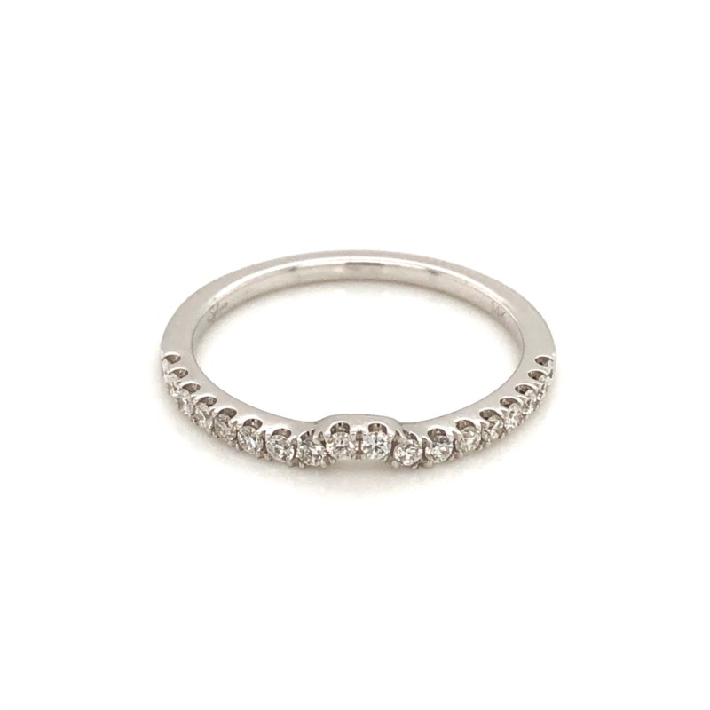 Diamond Wedding Band - Ladies 14 karat white gold high polished curved diamond wedding band.  This band features 18 prong set round brilliant cut diamonds.  The diamonds are G-H color, SI1-2 clarity and weigh 0.22 ct.  This band weighs 1.60 grams and is size 6.50.
